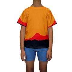 Mountains Natural Orange Red Black Kids  Short Sleeve Swimwear