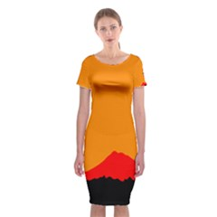 Mountains Natural Orange Red Black Classic Short Sleeve Midi Dress