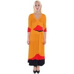 Mountains Natural Orange Red Black Quarter Sleeve Wrap Maxi Dress