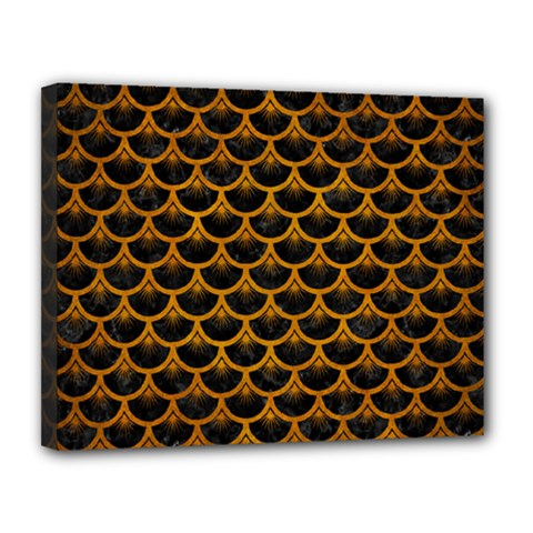 Scales3 Black Marble & Yellow Grunge (r) Canvas 14  X 11