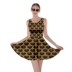 Scales3 Black Marble & Yellow Grunge (r) Skater Dress