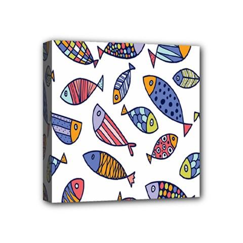 Love Fish Seaworld Swim Rainbow Cartoons Mini Canvas 4  X 4