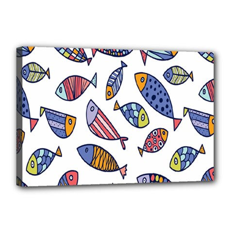 Love Fish Seaworld Swim Rainbow Cartoons Canvas 18  X 12