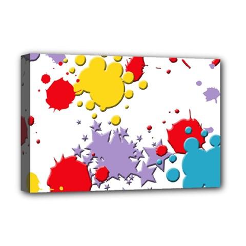 Paint Splash Rainbow Star Deluxe Canvas 18  X 12