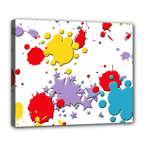 Paint Splash Rainbow Star Deluxe Canvas 24  X 20