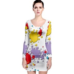 Paint Splash Rainbow Star Long Sleeve Bodycon Dress