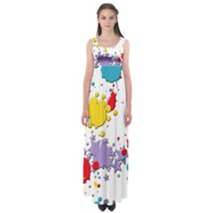 Paint Splash Rainbow Star Empire Waist Maxi Dress