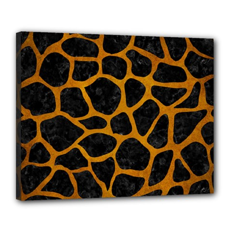 Skin1 Black Marble & Yellow Grunge Canvas 20  X 16