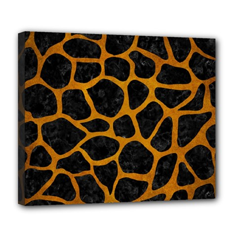 Skin1 Black Marble & Yellow Grunge Deluxe Canvas 24  X 20