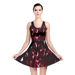 Lying Red Triangle Particles Dark Motion Reversible Skater Dress