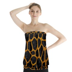 Skin1 Black Marble & Yellow Grunge Strapless Top