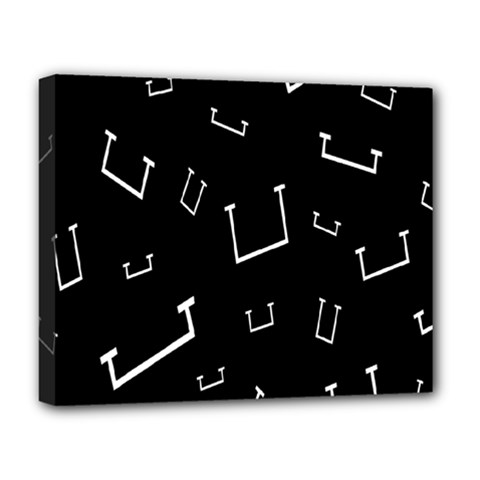 Pit White Black Sign Pattern Deluxe Canvas 20  X 16