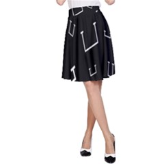 Pit White Black Sign Pattern A Line Skirt
