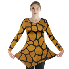 Skin1 Black Marble & Yellow Grunge (r) Long Sleeve Tunic