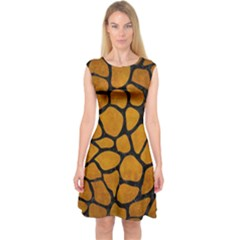 Skin1 Black Marble & Yellow Grunge (r) Capsleeve Midi Dress