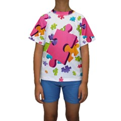 Passel Picture Green Pink Blue Sexy Game Kids  Short Sleeve Swimwear