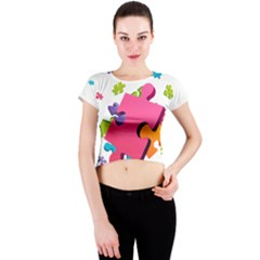 Passel Picture Green Pink Blue Sexy Game Crew Neck Crop Top