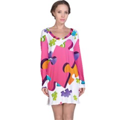 Passel Picture Green Pink Blue Sexy Game Long Sleeve Nightdress