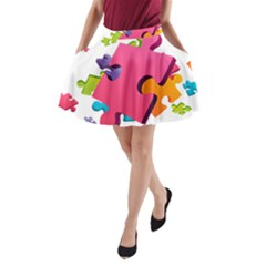 Passel Picture Green Pink Blue Sexy Game A Line Pocket Skirt