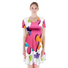 Passel Picture Green Pink Blue Sexy Game Short Sleeve V Neck Flare Dress