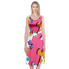 Passel Picture Green Pink Blue Sexy Game Midi Sleeveless Dress