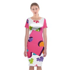 Passel Picture Green Pink Blue Sexy Game Classic Short Sleeve Midi Dress