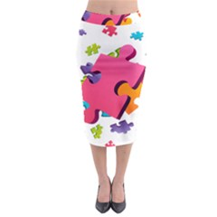 Passel Picture Green Pink Blue Sexy Game Midi Pencil Skirt