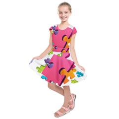 Passel Picture Green Pink Blue Sexy Game Kids  Short Sleeve Dress