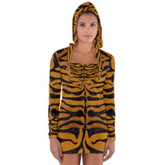 Skin2 Black Marble & Yellow Grunge Long Sleeve Hooded T Shirt
