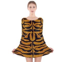 Skin2 Black Marble & Yellow Grunge Long Sleeve Velvet Skater Dress