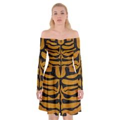 Skin2 Black Marble & Yellow Grunge Off Shoulder Skater Dress