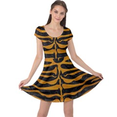 Skin2 Black Marble & Yellow Grunge (r) Cap Sleeve Dress