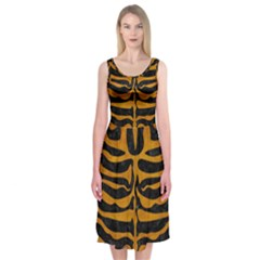 Skin2 Black Marble & Yellow Grunge (r) Midi Sleeveless Dress