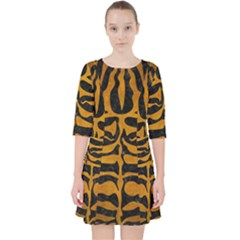 Skin2 Black Marble & Yellow Grunge (r) Pocket Dress
