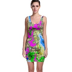 Painting Map Pink Green Blue Street Bodycon Dress