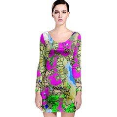 Painting Map Pink Green Blue Street Long Sleeve Bodycon Dress