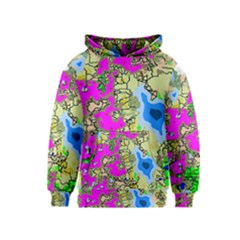 Painting Map Pink Green Blue Street Kids  Pullover Hoodie