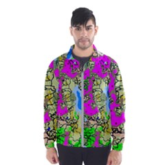 Painting Map Pink Green Blue Street Wind Breaker (men)