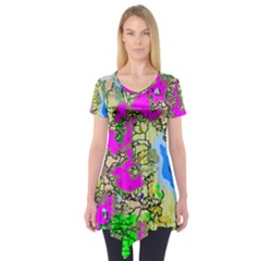 Painting Map Pink Green Blue Street Short Sleeve Tunic