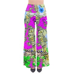 Painting Map Pink Green Blue Street Pants
