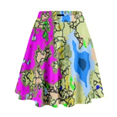 Painting Map Pink Green Blue Street High Waist Skirt