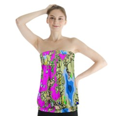 Painting Map Pink Green Blue Street Strapless Top