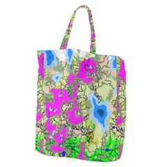 Painting Map Pink Green Blue Street Giant Grocery Zipper Tote