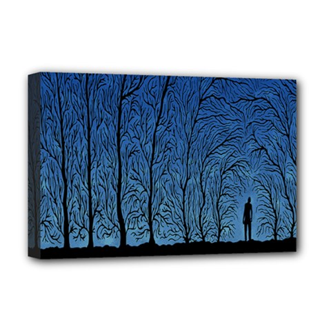 Forest Tree Night Blue Black Man Deluxe Canvas 18  X 12