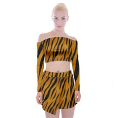 Skin3 Black Marble & Yellow Grunge Off Shoulder Top With Mini Skirt Set