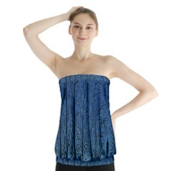 Forest Tree Night Blue Black Man Strapless Top
