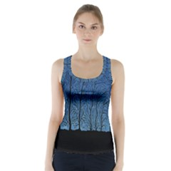 Forest Tree Night Blue Black Man Racer Back Sports Top