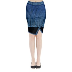 Forest Tree Night Blue Black Man Midi Wrap Pencil Skirt
