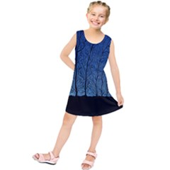 Forest Tree Night Blue Black Man Kids  Tunic Dress