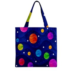 Planet Space Moon Galaxy Sky Blue Polka Grocery Tote Bag